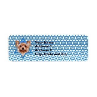 Estrella de Jánuca de David - Yorkshire Terrier Etiqueta De Remitente