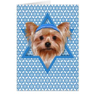 Estrella de Jánuca de David - Yorkshire Terrier Tarjeta De Felicitación
