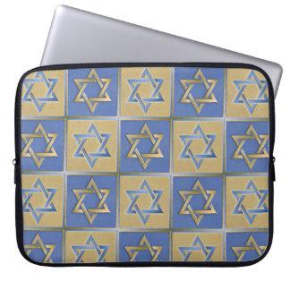 Estrella de Judaica del ordenador portátil azul Sl Funda Portátil