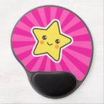 Estrella de Kawaii en fondo del resplandor solar d Alfombrilla De Raton Con Gel