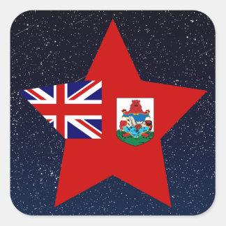 Estrella de la bandera de Bermudas en espacio Pegatina Cuadrada