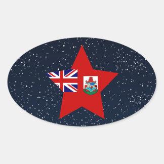 Estrella de la bandera de Bermudas en espacio Pegatina Ovalada
