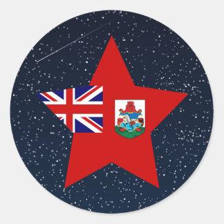 Estrella de la bandera de Bermudas en espacio Pegatina Redonda