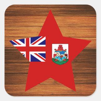 Estrella de la bandera de Bermudas en la madera Pegatina Cuadrada