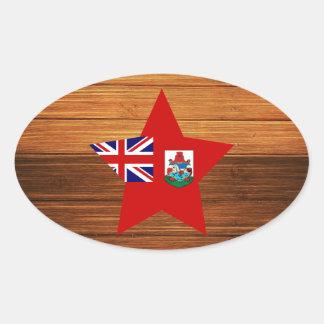 Estrella de la bandera de Bermudas en la madera Pegatina Ovalada