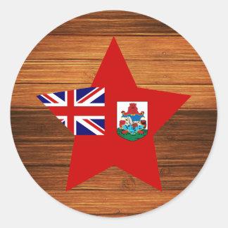 Estrella de la bandera de Bermudas en la madera Pegatina Redonda