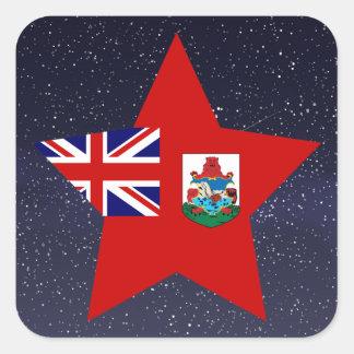 Estrella de la bandera de Bermudas Pegatina Cuadrada