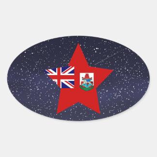 Estrella de la bandera de Bermudas Pegatina Ovalada