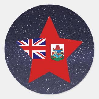 Estrella de la bandera de Bermudas Pegatina Redonda