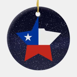 Estrella de la bandera de Chile Adorno Redondo De Cerámica