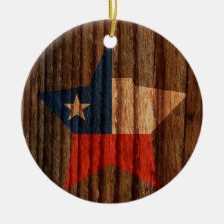 Estrella de la bandera de Chile en el tema de Adorno Redondo De Cerámica