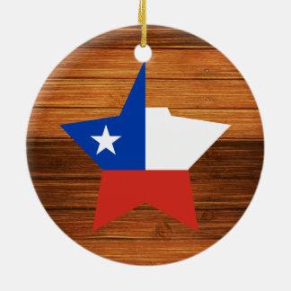 Estrella de la bandera de Chile en la madera Adorno Redondo De Cerámica