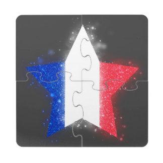 Estrella de la bandera de Francia que brilla Posavasos De Puzzle