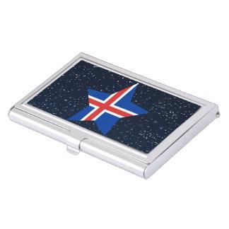 Estrella de la bandera de Islandia en espacio Caja De Tarjetas De Negocios