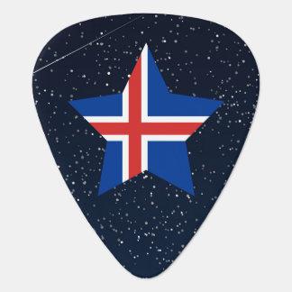 Estrella de la bandera de Islandia en espacio Púa De Guitarra