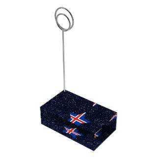 Estrella de la bandera de Islandia en espacio Soportes De Tarjeta De Mesa