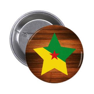 Estrella de la bandera de la Guayana Francesa en Pin Redondo 5 Cm