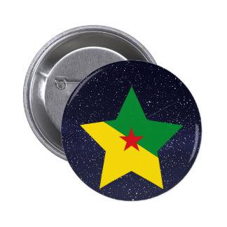 Estrella de la bandera de la Guayana Francesa Pin Redondo 5 Cm