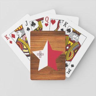 Estrella de la bandera de Malta en la madera Cartas De Póquer