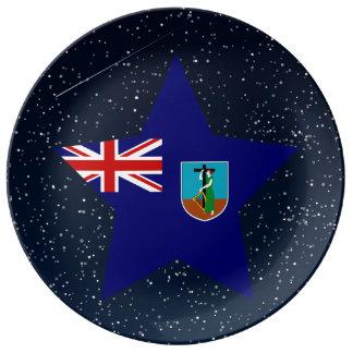 Estrella de la bandera de Montserrat en espacio Plato De Cerámica