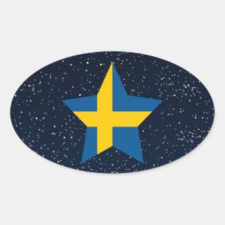 Estrella de la bandera de Suecia en espacio Pegatina Ovalada