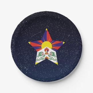 Estrella de la bandera de Tíbet en espacio Plato De Papel De 7 Pulgadas