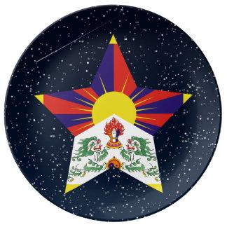 Estrella de la bandera de Tíbet en espacio Platos De Cerámica