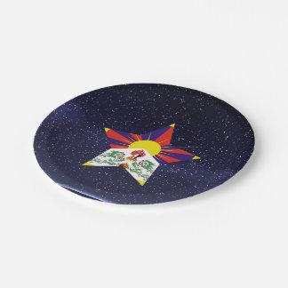 Estrella de la bandera de Tíbet Plato De Papel De 7 Pulgadas