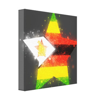 Estrella de la bandera de Zimbabwe que brilla Impresiones En Lienzo Estiradas