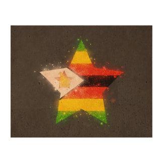 Estrella de la bandera de Zimbabwe que brilla Impresión En Corcho