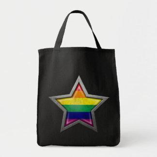 Estrella de la bandera del arco iris del orgullo g bolsa tela para la compra