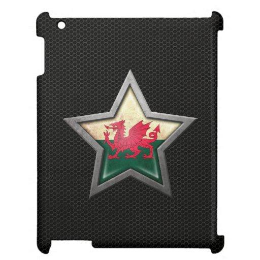 Estrella de la bandera Galés con el efecto de acer