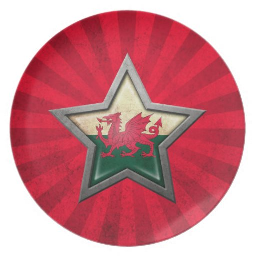Estrella de la bandera Galés con los rayos de la l Platos Para Fiestas