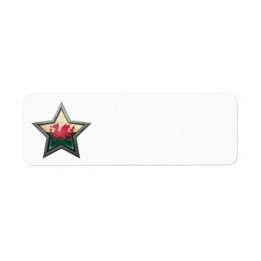 Estrella de la bandera Galés Etiqueta De Remitente