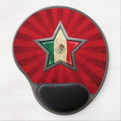 Estrella de la bandera mexicana con los rayos de l alfombrillas de raton con gel