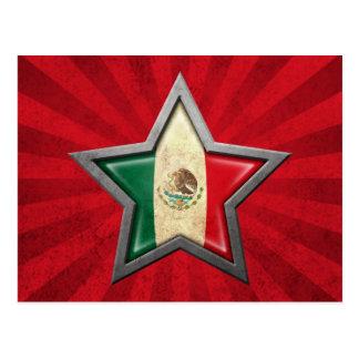 Estrella de la bandera mexicana con los rayos de l tarjetas postales