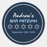 Estrella de la barra Mitzvah del modelo de David Pegatina Redonda