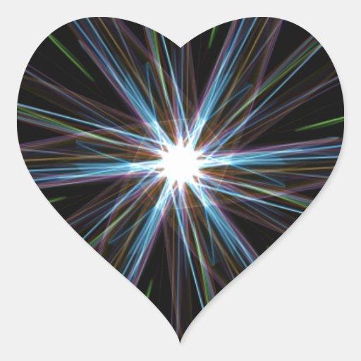 Estrella de la deformación pegatina en forma de corazón