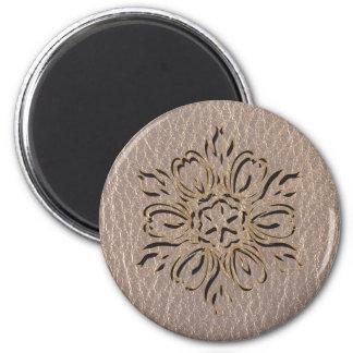 Estrella de la flor de la Cuero-Mirada suave Imán Redondo 5 Cm