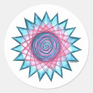 Estrella de la flor de la isla pegatina redonda
