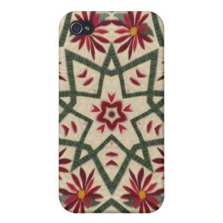 Estrella de la flor de Quilter iPhone 4 Carcasas