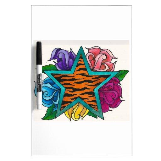 Estrella de la impresión del tigre con los rosas tablero blanco