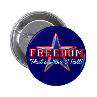 Estrella de la libertad, cómo ruedo pin redondo de 2 pulgadas