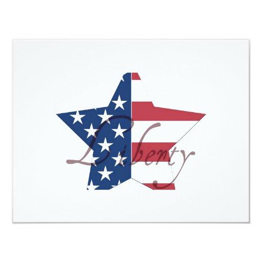 """Estrella de la libertad invitación 4.25"""" x 5.5"""""""