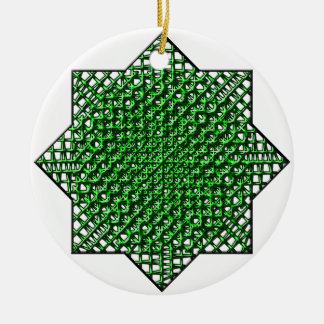 Estrella de la malla adorno navideño redondo de cerámica
