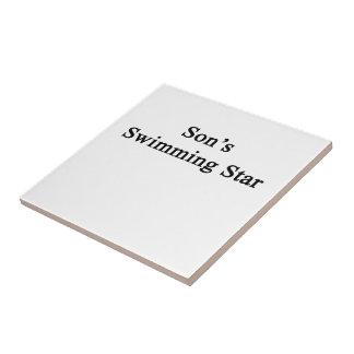 Estrella de la natación del hijo azulejo cuadrado pequeño