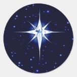 Estrella de la natividad del navidad etiquetas redondas
