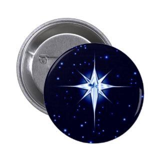 Estrella de la natividad del navidad pin redondo de 2 pulgadas
