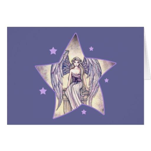 Estrella de la perca del ángel tarjeta de felicitación