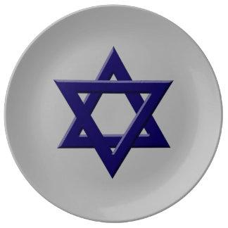 Estrella de la placa de la porcelana de David Platos De Cerámica